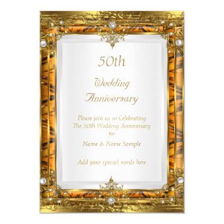 50th Wedding Anniversary Gold Bamboo White Pearl Card