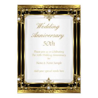 50th Wedding Anniversary Gold Black White Pearl 2 13 Cm X 18 Cm Invitation Card
