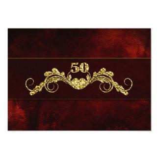 "50th Wedding Anniversary - Gold ELegance 5"" X 7"" Invitation Card"