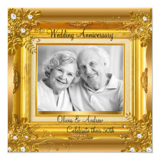 50th Wedding Anniversary Gold Floral Photo Card