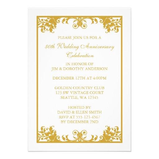 50th Wedding Anniversary Gold Flourish Scroll Invites