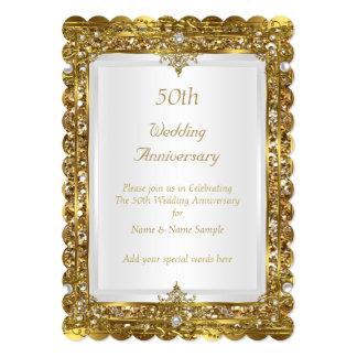50th Wedding Anniversary Gold Glitter White Pearl 13 Cm X 18 Cm Invitation Card