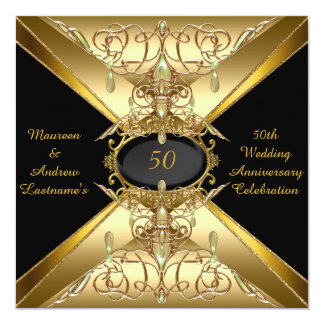 "50th Wedding Anniversary Gold Golden Jewel 2 5.25"" Square Invitation Card"