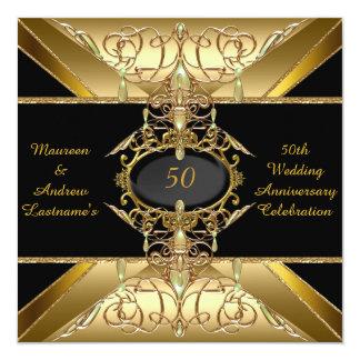 "50th Wedding Anniversary Gold Golden Jewel 5.25"" Square Invitation Card"