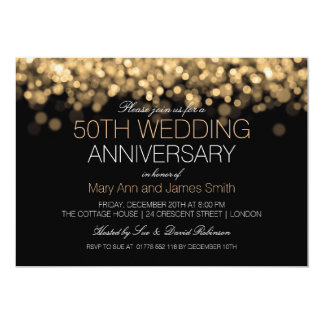50th Wedding Anniversary Gold Lights Personalized Invites