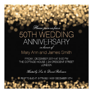 50th Wedding Anniversary Gold Lights Personalized Announcement