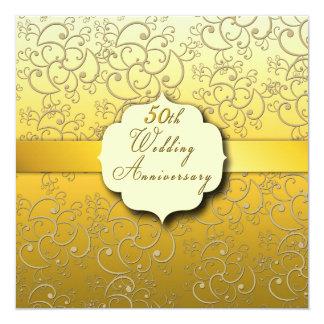 50th Wedding Anniversary - Golden 13 Cm X 13 Cm Square Invitation Card