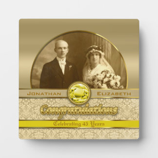 50th Wedding Anniversary Golden Topaz Damask Photo Plaque
