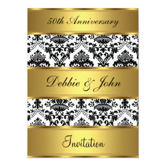 "50th Wedding Anniversary Invitation Gold Damask 6.5"" X 8.75"" Invitation Card"