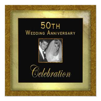 """50th Wedding Anniversary Invitation - Photo Insert 5.25"""" Square Invitation Card"""