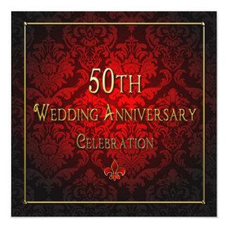 """50th Wedding Anniversary Invitation - Red/Gold 5.25"""" Square Invitation Card"""