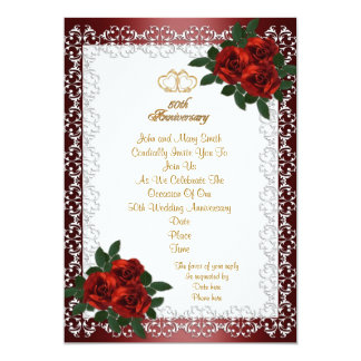 50th Wedding Anniversary invitation red roses