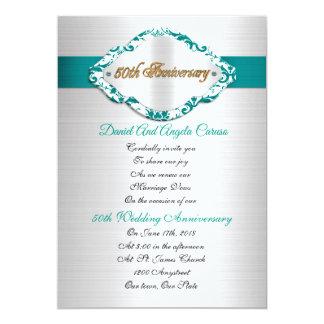 50th Wedding Anniversary Invitation teal satin