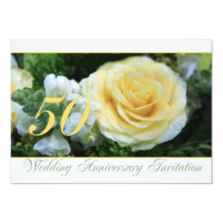 50th Wedding Anniversary Invitation - Yellow Rose
