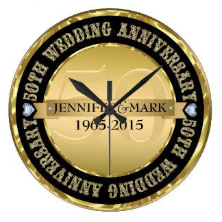 50Th Wedding Anniversary Metallic Gold & Black Large Clock