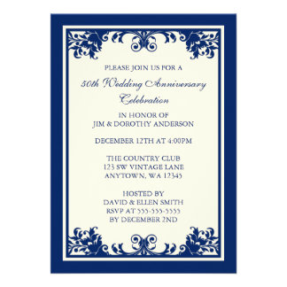 50th Wedding Anniversary Navy Flourish Scroll Custom Invites