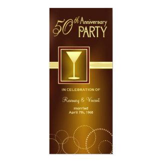 50th Wedding Anniversary Party - Gold Monogram 10 Cm X 24 Cm Invitation Card