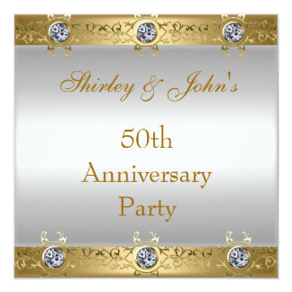 50th Wedding Anniversary Party Gold White Card