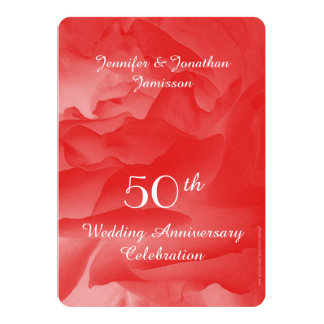 50th Wedding Anniversary Party Invitation, Rose 13 Cm X 18 Cm Invitation Card