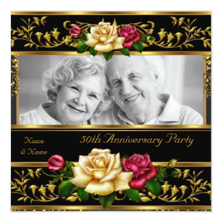 50th Wedding Anniversary Party Rose Gold Photo Card