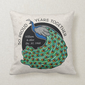 50th Wedding Anniversary, Peacock and Hearts Throw Pillow