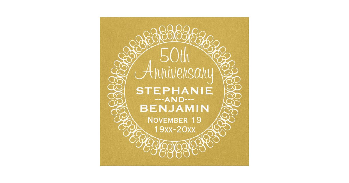Personalised Wedding Anniversary Gifts Nz : 50th Wedding Anniversary Personalised Canvas Print Zazzle