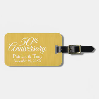 50th Wedding Anniversary Personalised Golden Luggage Tag