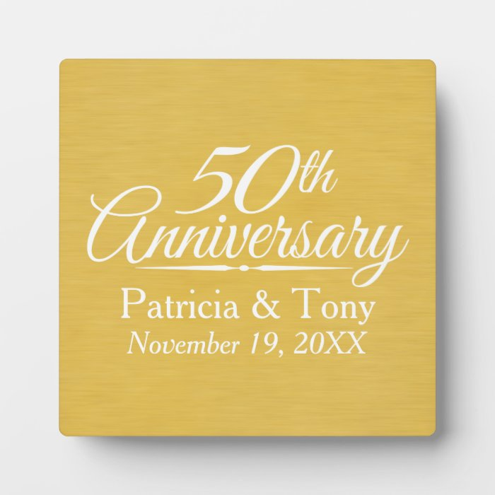 Personalised Wedding Anniversary Gifts Nz : 50th Wedding Anniversary Personalised Golden Plaques Zazzle