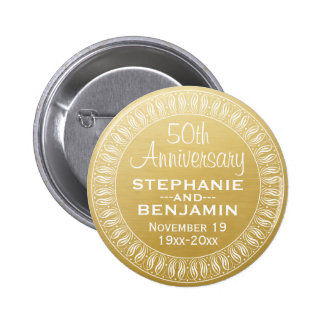 50th Wedding Anniversary Personalized gold 6 Cm Round Badge