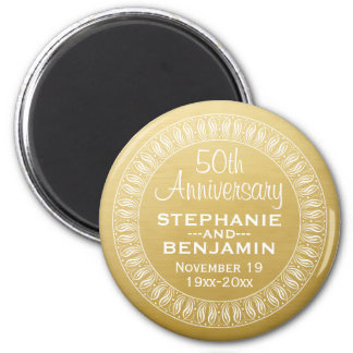 50th Wedding Anniversary Personalized gold 6 Cm Round Magnet