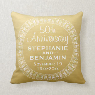 50th Wedding Anniversary Personalized gold Cushion