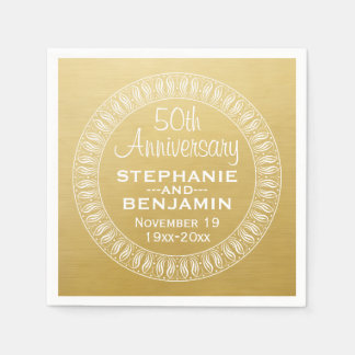 50th Wedding Anniversary Personalized gold Disposable Napkins
