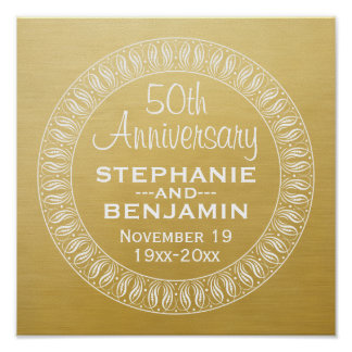 50th Wedding Anniversary Personalized gold Posters