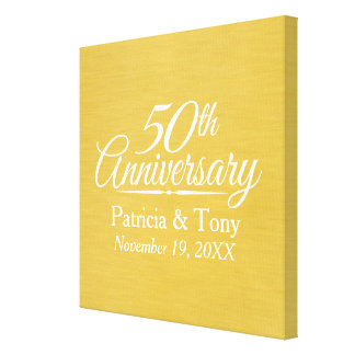 50th Wedding Anniversary Personalized Golden Canvas Print