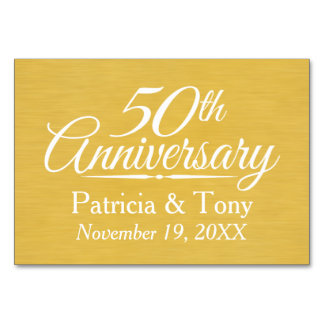 50th Wedding Anniversary Personalized Golden Card