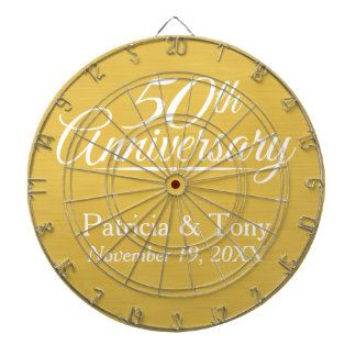 50th Wedding Anniversary Personalized Golden Dartboard