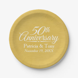 50th Wedding Anniversary Personalized Golden Paper Plate