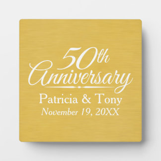 50th Wedding Anniversary Personalized Golden Plaque