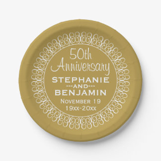 50th Wedding Anniversary Personalized Paper Plate