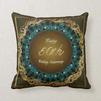 50th Wedding Anniversary Polyester Throw Pillows
