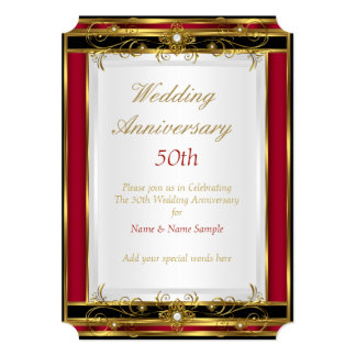 50th Wedding Anniversary Red Gold Black White 13 Cm X 18 Cm Invitation Card
