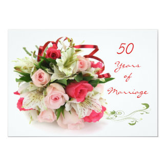 50th Wedding Anniversary.  Roses and lilies 13 Cm X 18 Cm Invitation Card