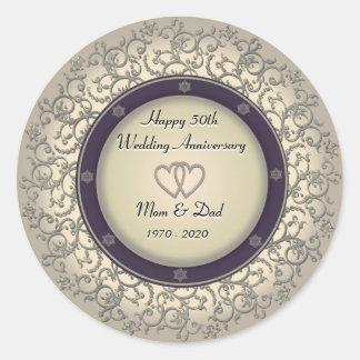 50th Wedding Anniversary Round Sticker
