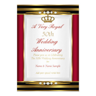 50th Wedding Anniversary Royal Red Gold Crown 13 Cm X 18 Cm Invitation Card
