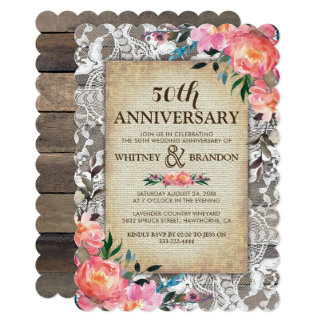 50th Wedding Anniversary Rustic Wood Lace Floral Card