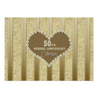 50th Wedding Anniversary (Silver) Invitation/Heart