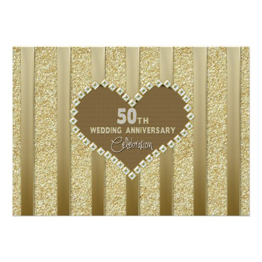 50th Wedding Anniversary (Silver) Invitation/Heart