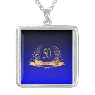 50th Wedding Anniversary Silver Square Necklace