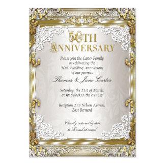 50th Wedding Anniversary Vintage Gold Beige Photo 13 Cm X 18 Cm Invitation Card