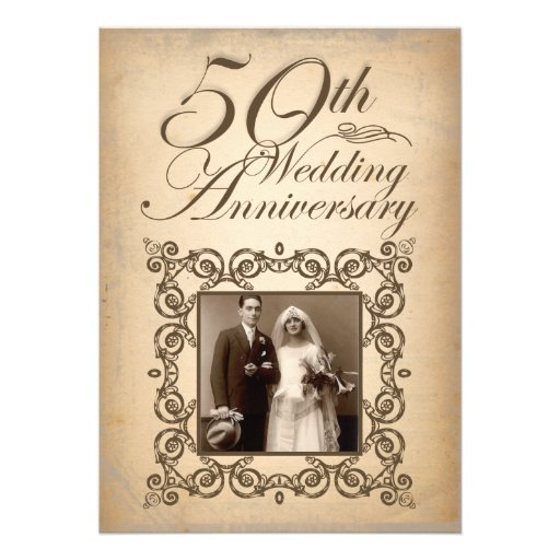 50th wedding anniversary vintage invitation